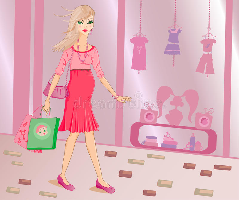 Stylish Pregnant Woman Shopping Stock Photo