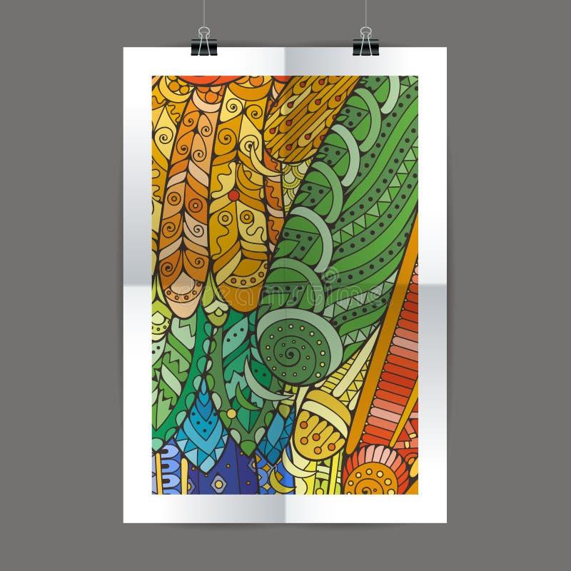 Stylish presentation of wall poster, magazine cover, design paper print template. Folder zentangle design content vector illustration