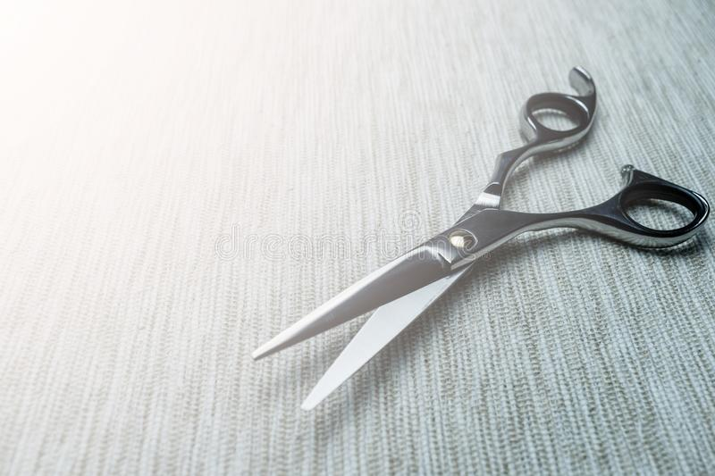 Stylish Professional Barber Scissors; Hairdresser salon concept;Haircut accessories. Equipment, background, hairdressing, care, beauty, occupation, saloon, set royalty free stock photo