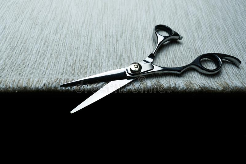 Stylish Professional Barber Scissors; Hairdresser salon concept;Haircut accessories. Equipment, background, hairdressing, care, beauty, occupation, saloon, set royalty free stock images