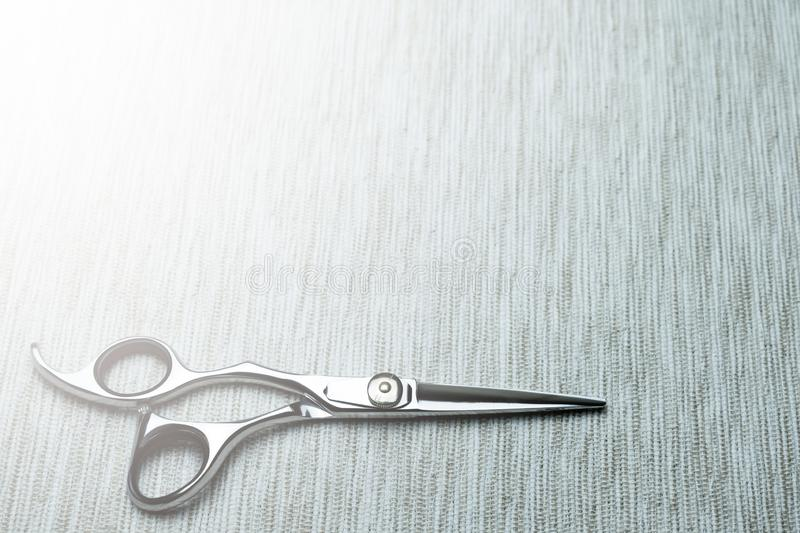 Stylish Professional Barber Scissors; Hairdresser salon concept;Haircut accessories. Equipment, background, hairdressing, care, beauty, occupation, saloon, set stock photo