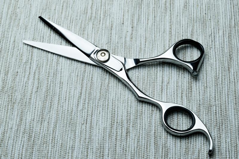 Stylish Professional Barber Scissors; Hairdresser salon concept;Haircut accessories. Equipment, background, hairdressing, care, beauty, occupation, saloon, set royalty free stock photography