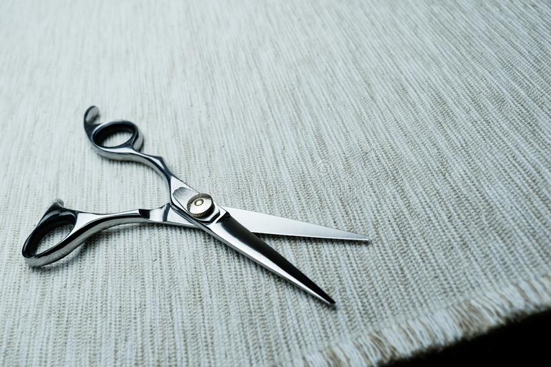 Stylish Professional Barber Scissors; Hairdresser salon concept;Haircut accessories. Equipment, background, hairdressing, care, beauty, occupation, saloon, set stock photography
