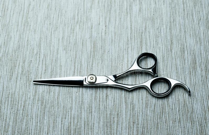 Stylish Professional Barber Scissors; Hairdresser salon concept;Haircut accessories. Equipment, background, hairdressing, care, beauty, occupation, saloon, set royalty free stock image
