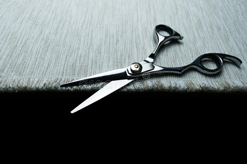 Stylish Professional Barber Scissors; Hairdresser salon concept;Haircut accessories. Equipment, background, hairdressing, care, beauty, occupation, saloon, set stock image