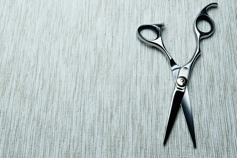 Stylish Professional Barber Scissors; Hairdresser salon concept;Haircut accessories. Equipment, background, hairdressing, care, beauty, occupation, saloon, set stock photos