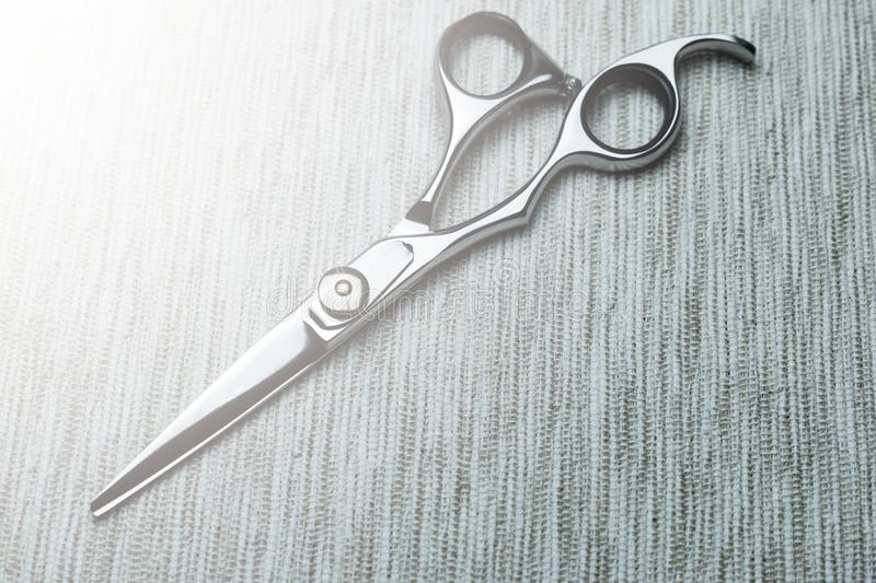 Stylish Professional Barber Scissors; Hairdresser salon concept;Haircut accessories. Equipment, background, hairdressing, care, beauty, occupation, saloon, set stock images