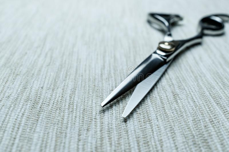 Stylish Professional Barber Scissors; Hairdresser salon concept;Haircut accessories stock image