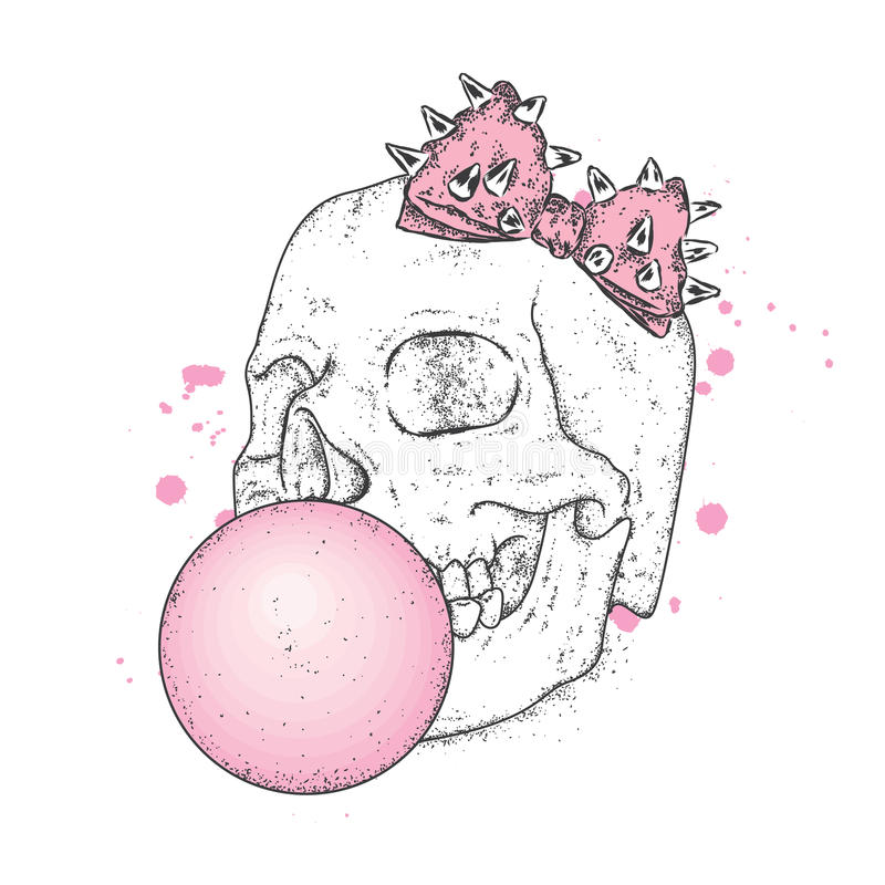 Stylish puffs ball out of chewing gum. Vector illustration for a card or poster, print on clothes. The hipster skeleton. Fashion & stock illustration