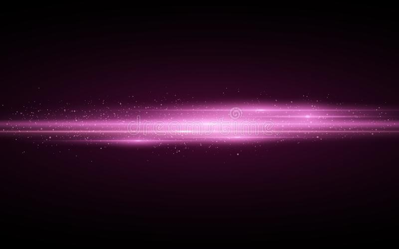 Stylish purple light effect isolated on black background. Purple glitters. Glowing lines with sparkles. Blurred light trails. Vector illustration. EPS 10 stock illustration
