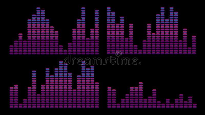 Stylish purple, pink blue equalizer2 vector illustration