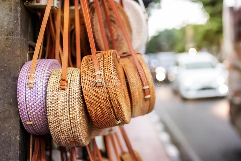 Stylish Rattan Handbags On The Balinese Street In Ubud. Free Public Domain Cc0 Image
