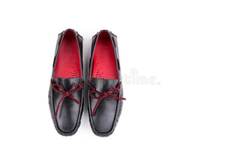 Stylish Red and black leather loafers shoes pair isolated on white background from top royalty free stock photos