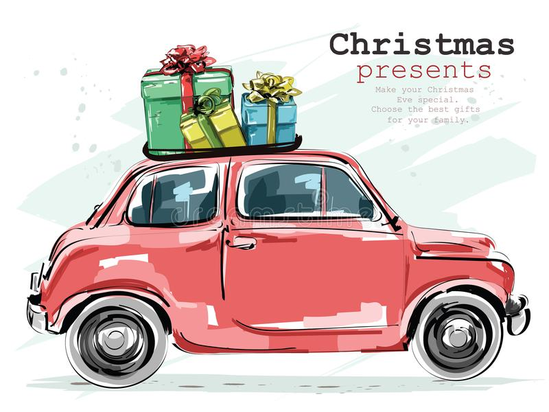 Stylish retro car with Christmas gifts. Hand drawn red car. Sketch. vector illustration