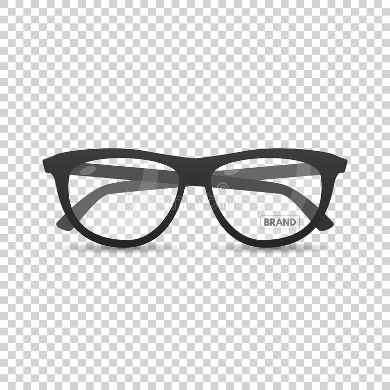 Stylish retro eyeglasses. Stylish hipster optical glasses. Eyeglasses with lens glare. Retro specs for style with highlights and a label of the designer`s name stock illustration