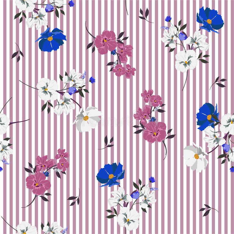 Stylish retro full of blooming flowers and leaves bright mood. On purple stripe seamless pattern Design for fashoin fabric ,wallpaper book , card and etc stock illustration