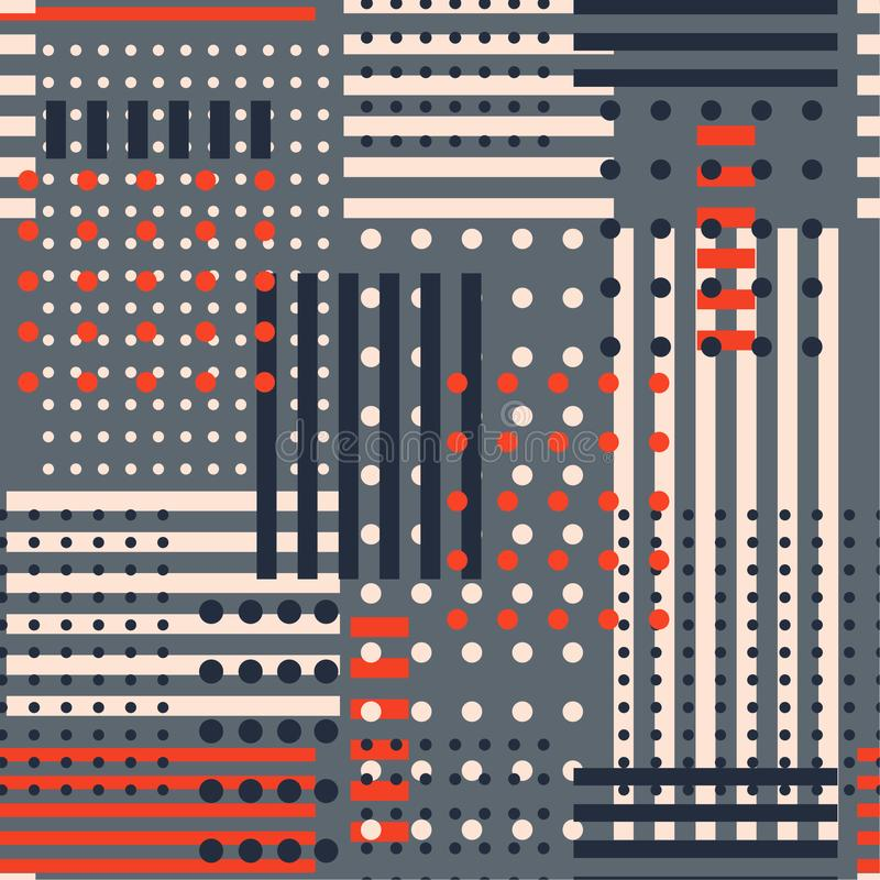 Stylish retro geometric seamless pattern in vector polka dots mi. X with stripe design for fashion,fabric, and all prints on grey background color vector illustration