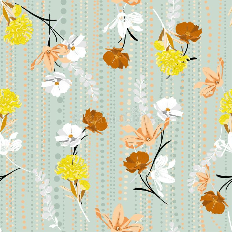Stylish Retro Hand drawing colorful florals seamless pattern vector on and polka dots line garden mood stylish for fashion ,fabric. Web,wallpaper and all prints vector illustration
