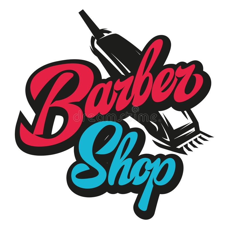 Stylish retro icon with a comb and a machine for the barber shop.  royalty free illustration