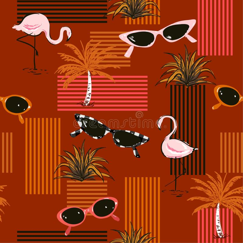 Stylish Retro seamless pattern with hand-drawn flamingo,palm tree, sunglasses. Summer elements with colorful stripes design. Forfashion,fabric,and all prints on vector illustration