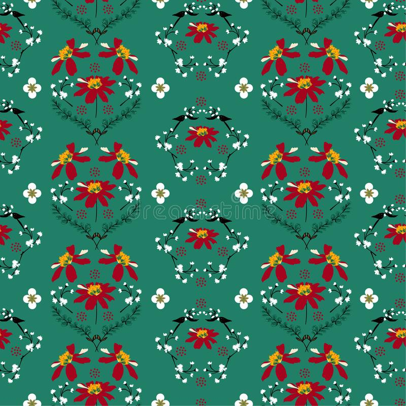 Stylish Retro Soft and gentle of wild flower seamless pattern in regular repeat design for fashion,wallpaper, fabric ,web and all. Prints on vintage green royalty free illustration