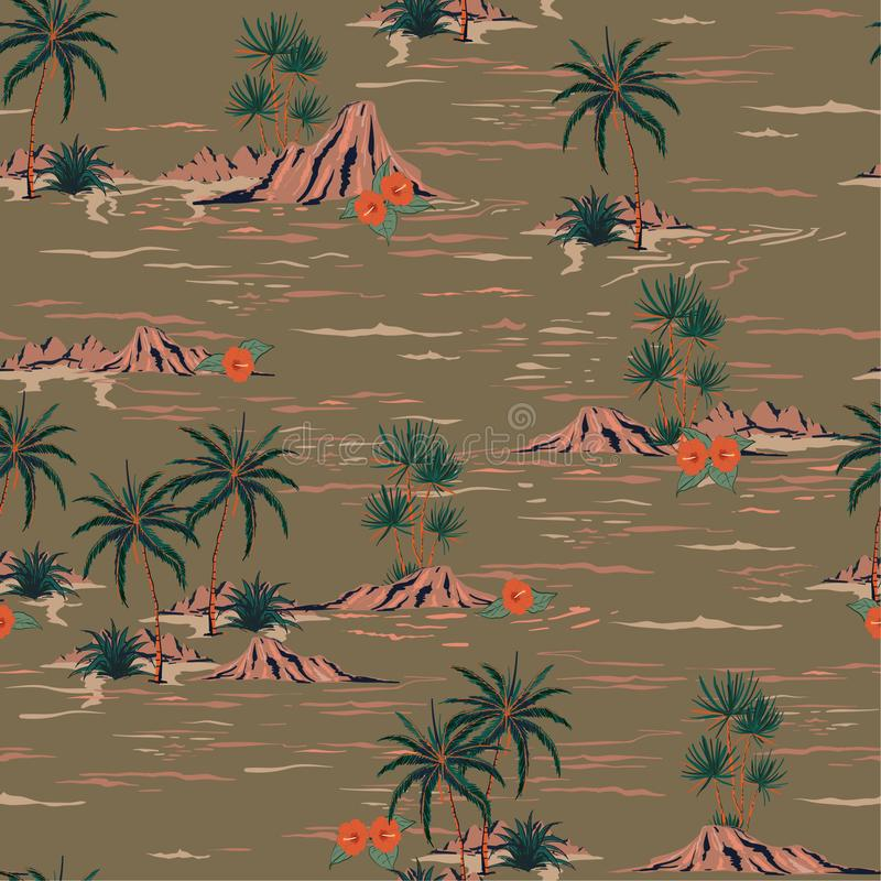 Stylish Retro summer mood seamless island pattern Landscape wit. H palm trees,beach and ocean vector hand drawn style on vintage brown background royalty free illustration