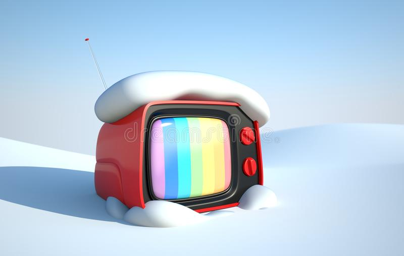 Stylish retro TV in snow royalty free illustration