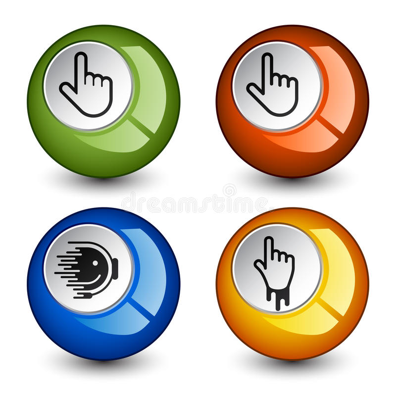 Stylish round glossy buttons stock illustration