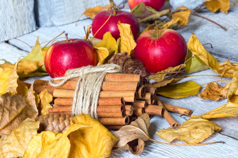 Stylish rustic or autumn wallpaper with cinnamon and apple and leaves on wooden background. space for text. cozy mood stock image