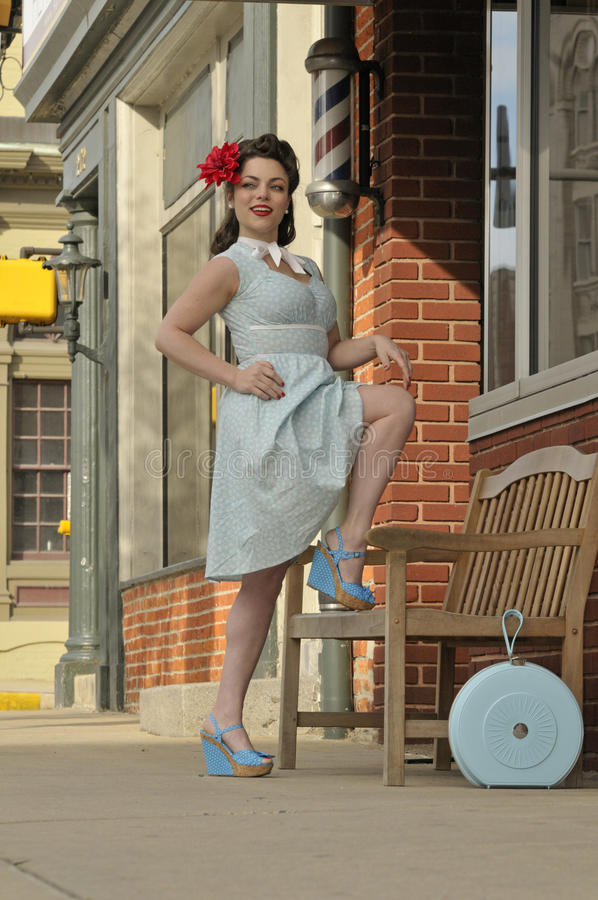 Stylish 1940's pin up girl royalty free stock photo