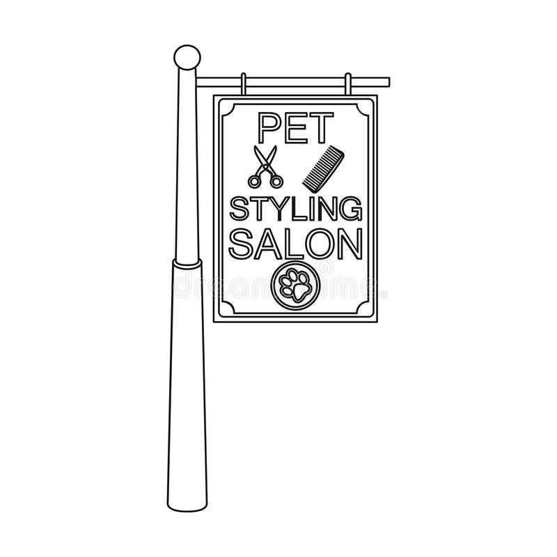 Stylish salon for a pet, a sign on a street post, Pet care single icon in outline style vector symbol stock illustration.  royalty free illustration