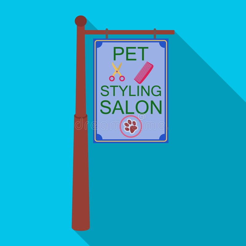 Stylish salon for a pet, a sign on a street post, Pet care single icon in flat style vector symbol stock illustration.  vector illustration