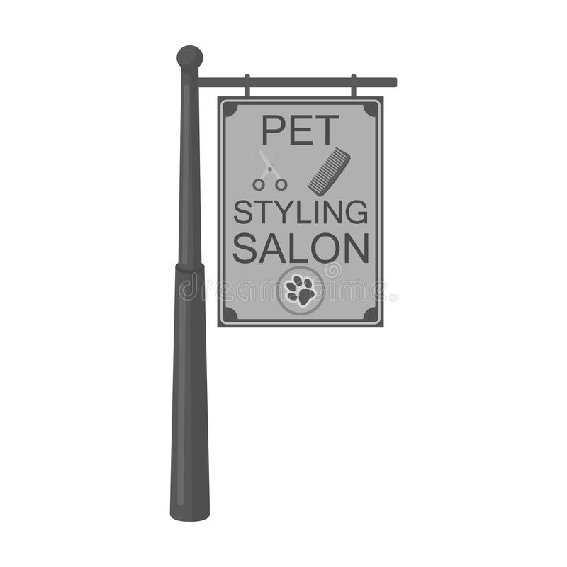 Stylish salon for a pet, a sign on a street post, Pet care single icon in monochromt style vector symbol stock. Illustration royalty free illustration