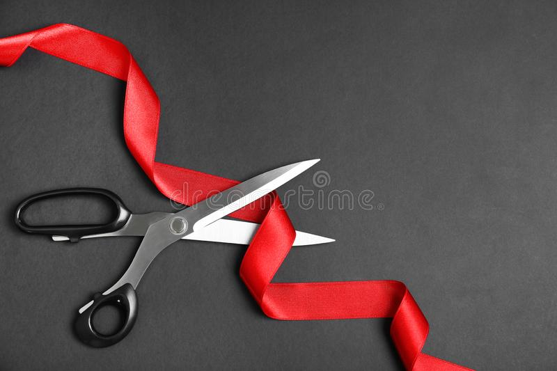 Stylish scissors and red ribbon on black background, flat lay. Ceremonial tape cutting. Stylish scissors and red ribbon on black background, flat lay with space royalty free stock image