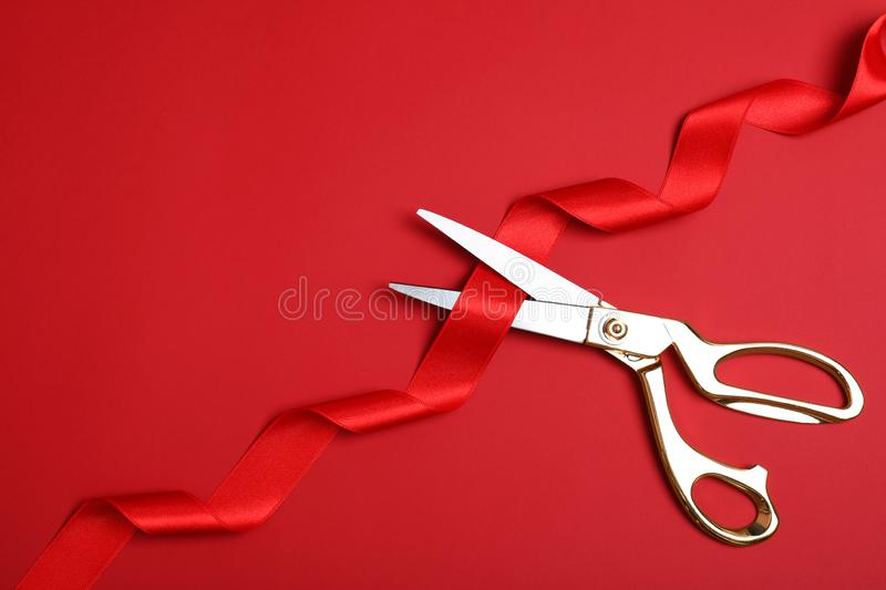Stylish scissors and red ribbon on color background, flat lay. Ceremonial tape cutting. Stylish scissors and red ribbon on color background, flat lay with space stock photography