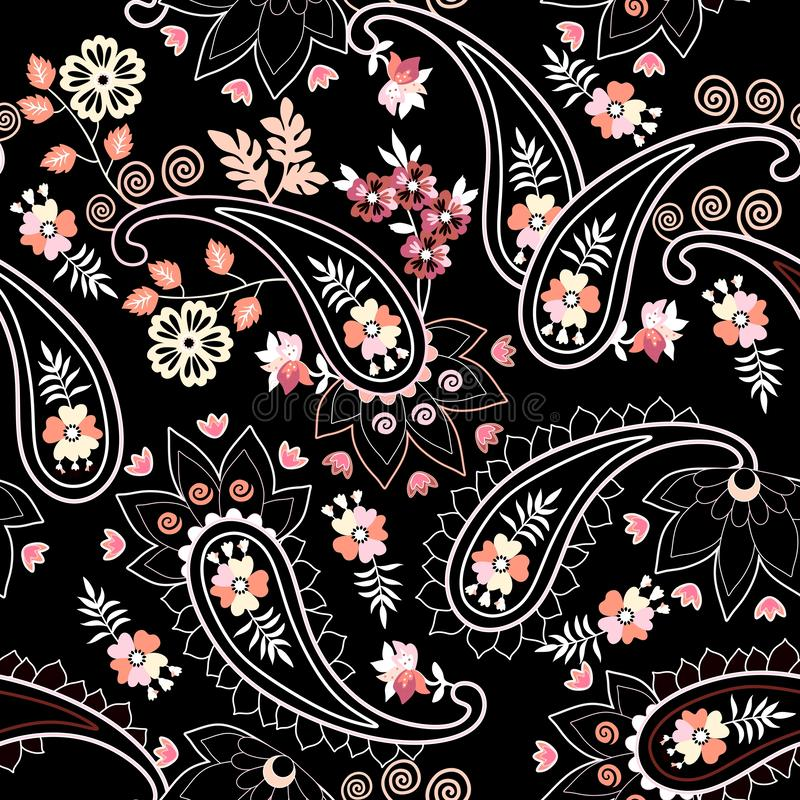 Stylish seamless ethnic pattern with paisley and flowers on black background. Damask, persian, turkish, indian motifs.  stock illustration