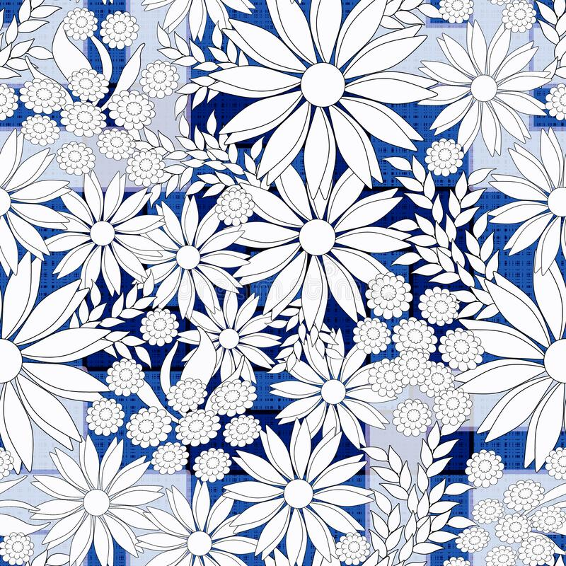 Stylish seamless floral retro pattern. White flowers on blue background. stock illustration