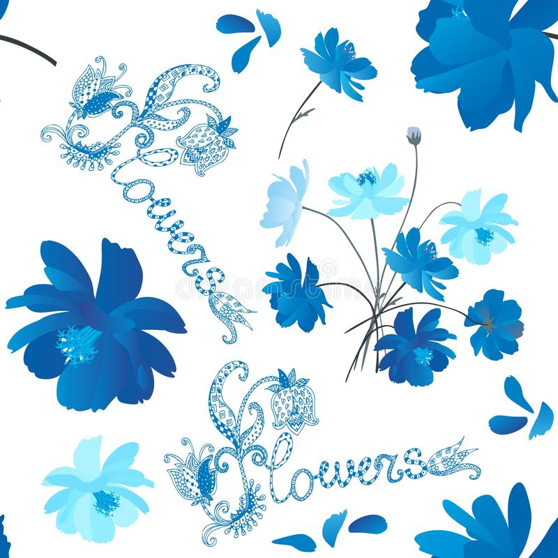 Stylish seamless pattern of blue cosmos flowers and beautiful lettering on white background. Hand drawn illustration royalty free illustration