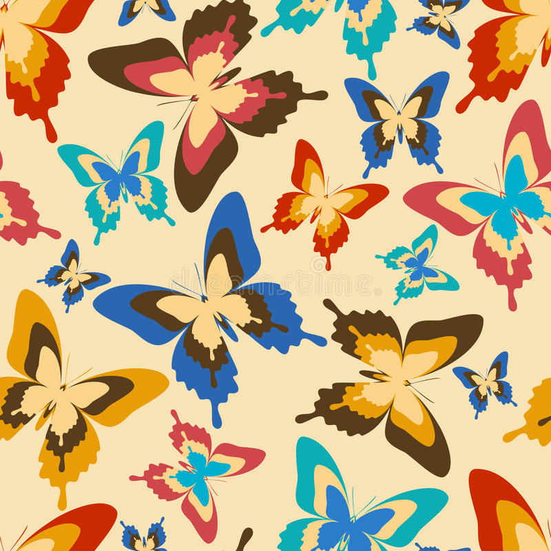 Stylish seamless pattern with colorful butterflies. Stylish background seamless pattern with flying colorful butterflies in vintage or retro style. Bright trendy royalty free illustration