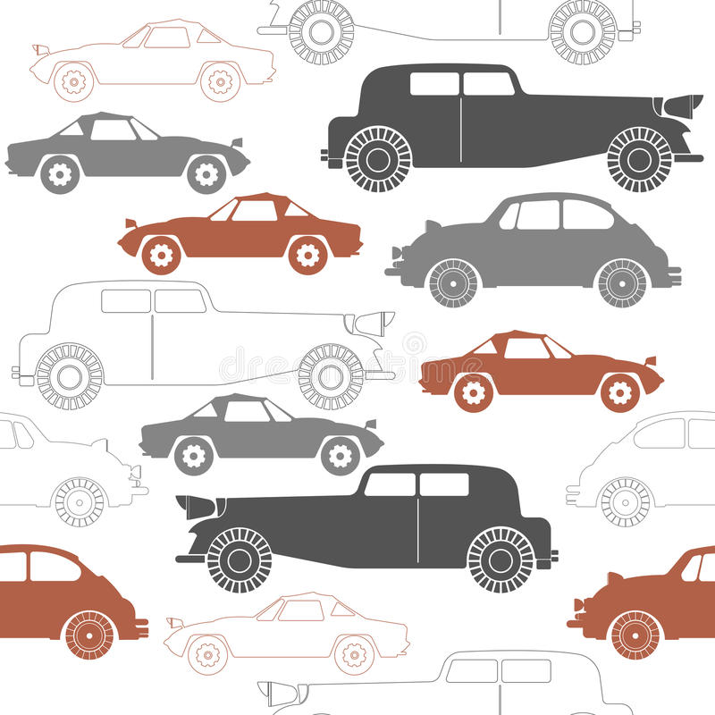 Stylish seamless pattern with set of retro cars. Perfect template for wallpaper, retro card, paper, linen, tissue, design fabric and more creative designs stock illustration