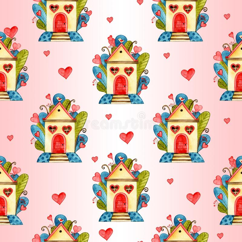 Stylish seamless pattern with watercolor hearts. Valentine elements. Love illustration royalty free stock images