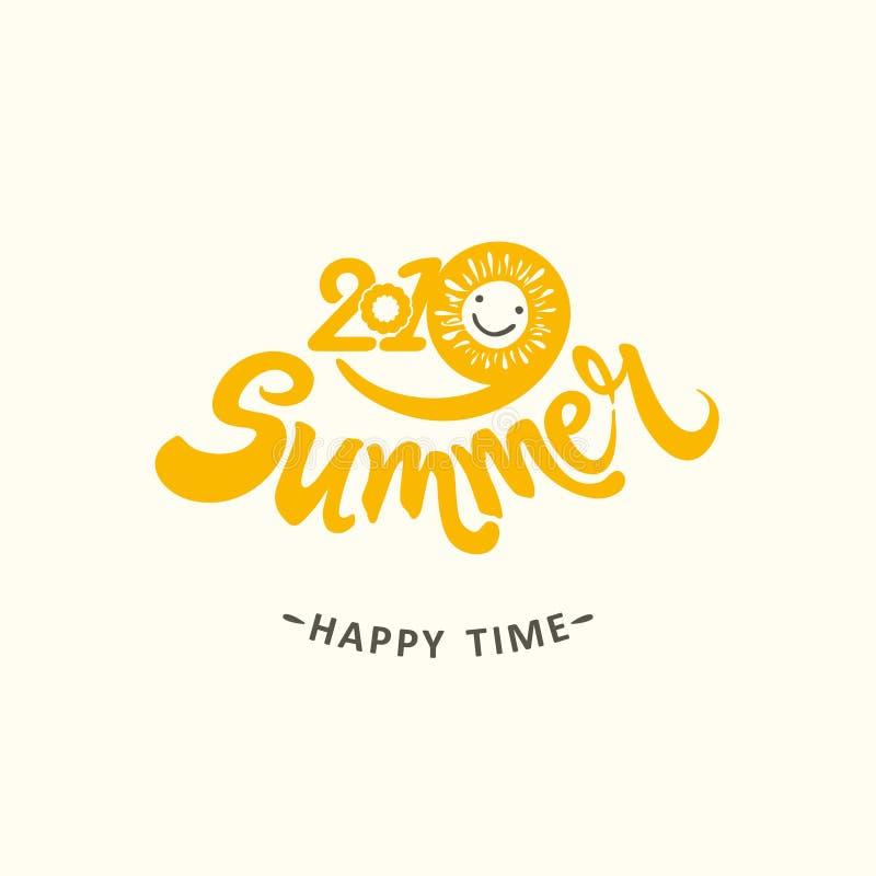 Stylish seasonal template 2019 Summer. Happy time. Bright yellow sun smiles. stock illustration