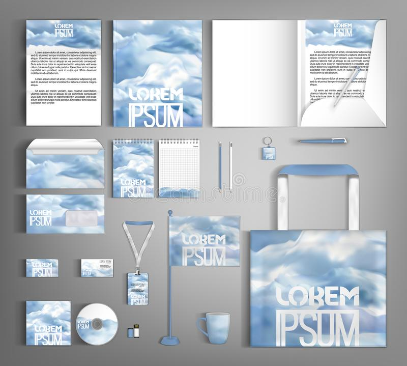 Stylish set of corporate identity with clouds. Editable design template. Vector design set of corporate identity. Stylish pattern with clouds vector illustration