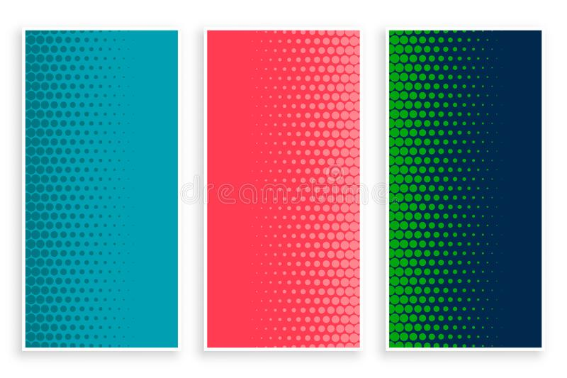 Stylish set of halftone banners in three colors. Vector vector illustration