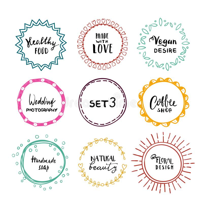 Stylish Set Of Multi Colored Round Frames .Vector Frameworks 3 ...
