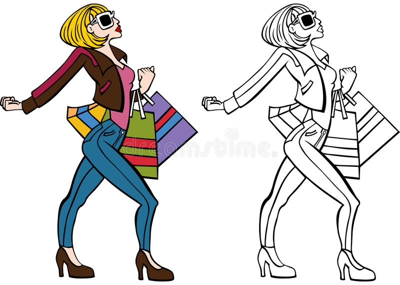 Stylish Shopper Set royalty free illustration