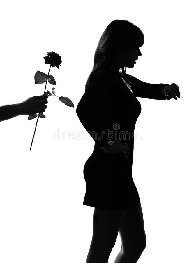 Stylish silhouette woman waiting late lover. Caucasian beautiful stylish silhouette woman waiting late loveron studio isolated white background stock images