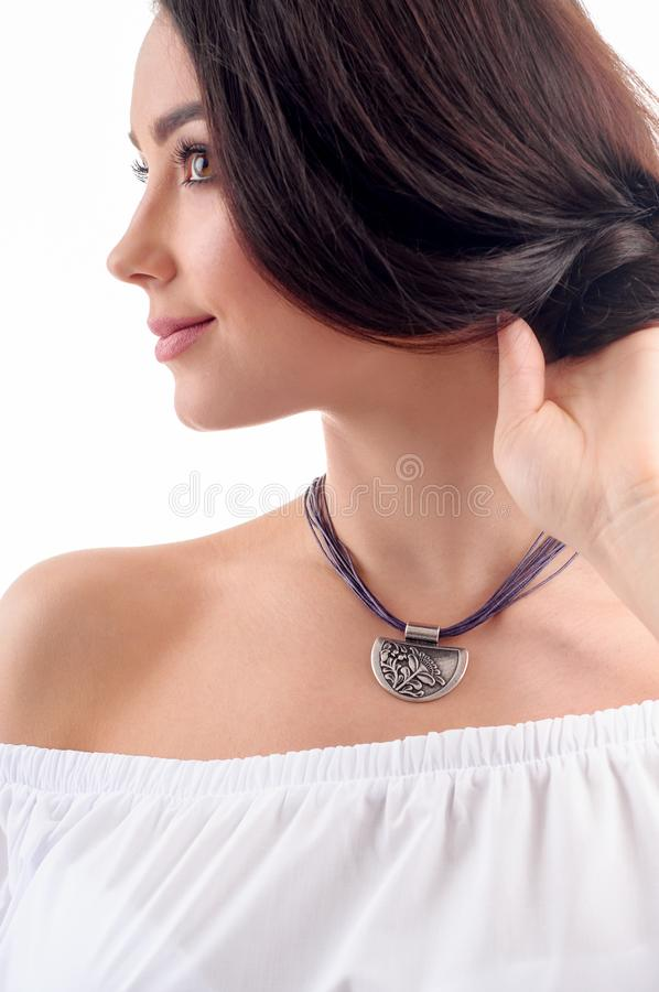 Stylish silver accessory on woman. Necklace with choker on neck. Close-up studio isolated shot of spring jewelry collection royalty free stock photos