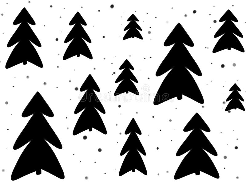 Stylish simple black christmas trees and snow on white background. Hand drawn illustration. Modern greeting card. Happy holidays. Sketch stock illustration