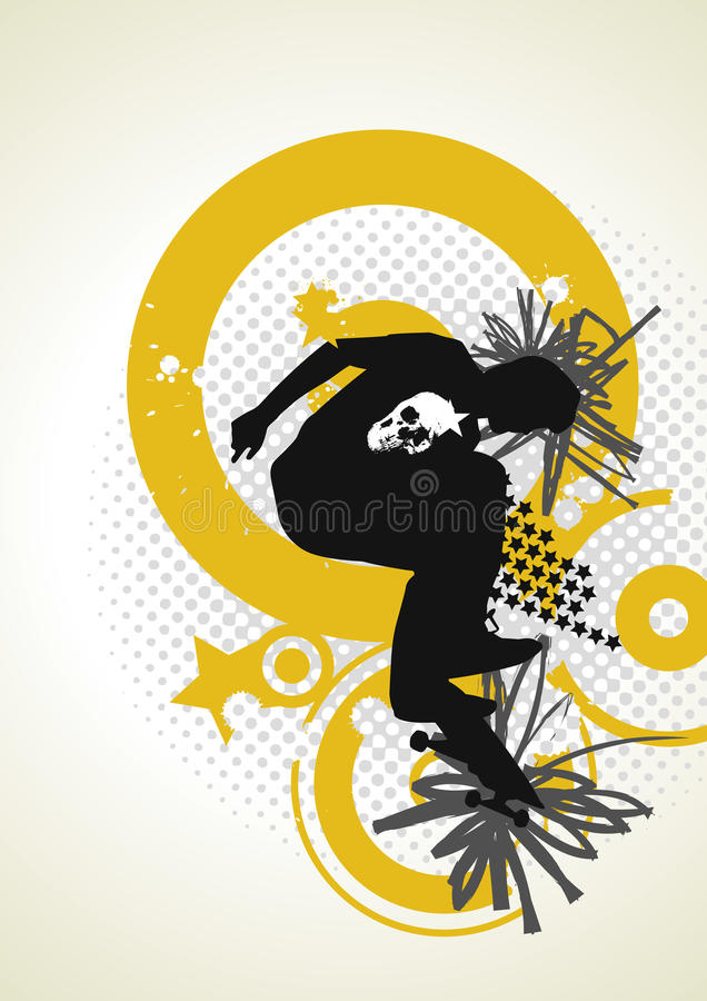 Download Stylish  Skater With Graffiti Tags Stock Illustration - Image: 10340935